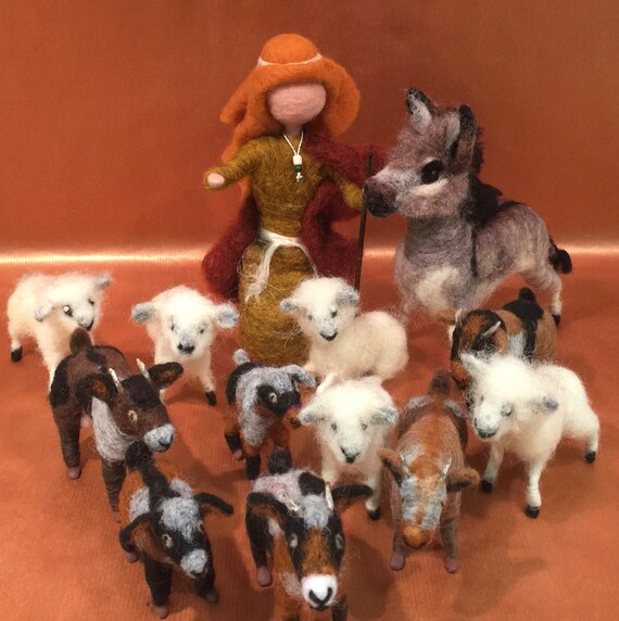Needle felted shepherd, nativity set, Waldorf nativity, nativity animals, needle felted sheep, needle felted donkey, needle felted goats