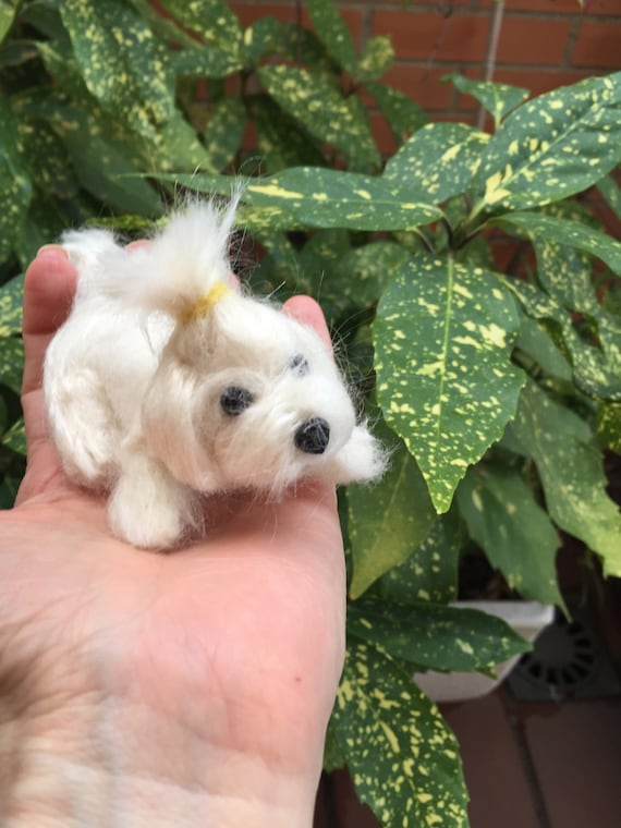 Needle felted Maltese, needle felted dog, dog portrait, pet loss, wool dog sculpture, Maltese doll, Maltese lovers, custom dog, Maltese dog
