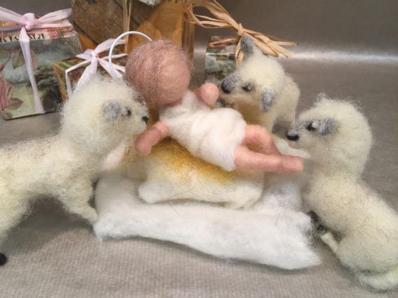 Needle felted nativity set, needle felted Jesus, Waldorf nativity, vintage nativity, rustic nativity, felted lamb, Jesus doll, baby Jesus