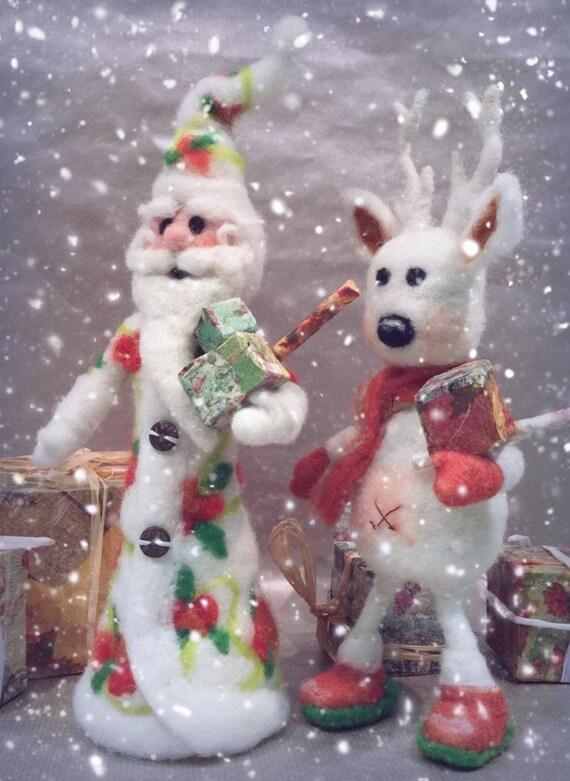 Needle felted Christmas set, felted Santa, felted reindeer, felted Rudolph, felted Christmas ornaments, reindeer sculpture, Waldorf Santa