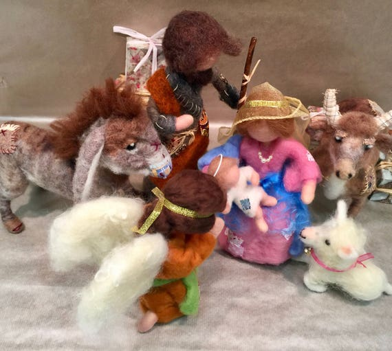 Needle felted nativity set, nativity scene, wool nativity, nativity figurines, vintage nativity, Waldorf nativity, Steiner nativity, Xmas