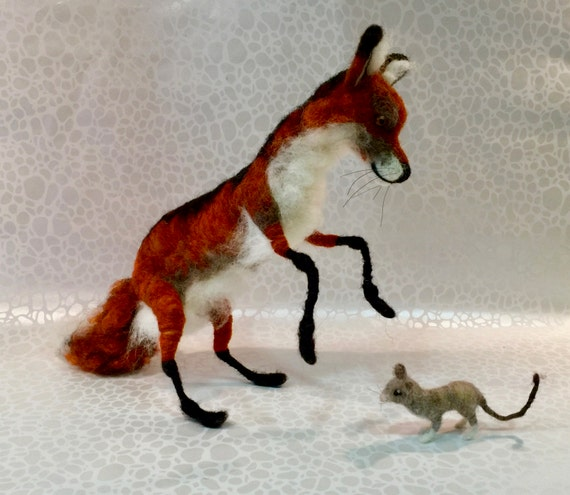 Needle felted fox, wool fox, fox figurine, fox sculpture, woodland animal, woodland creature, felted woodland, forest animal, forest felted