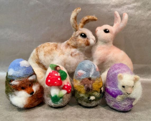 Needle felted Easter bunny and Easter eggs, Easter decor, felted Easter, Easter ornaments, bunny figurine, bunny sculpture, wool bunny, eggs