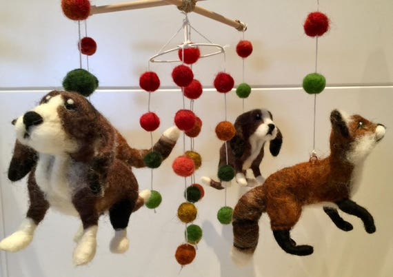 Needle felted mobile, felted woodland animals, felted forest, felted dog, felted fox, Basset Hound, felted wood, woodland animals, Waldorf