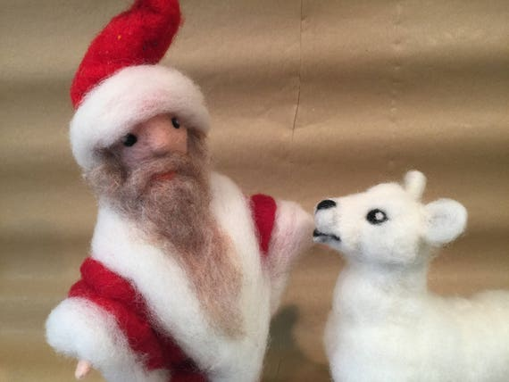 Needle felted Santa with or without polar bear, Christmas ornaments, Waldorf dolls, Christmas figurines, Waldorf Christmas, Santa and bear