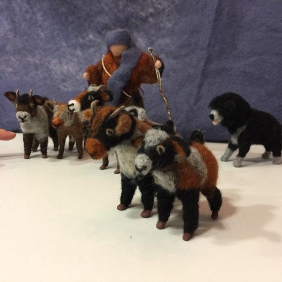 Needle felted goats, wool goats, Waldorf goats, Christmas nativity, Christmas ornaments, felted animals, felted christmas, felted nativity