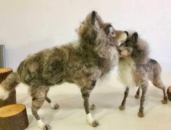 Needle felted wolf, felted wolves, wolves sculptures, wolf figurine, wolf ornament, wolf doll, wool wolves, old wolf, wolf cub, jungle book