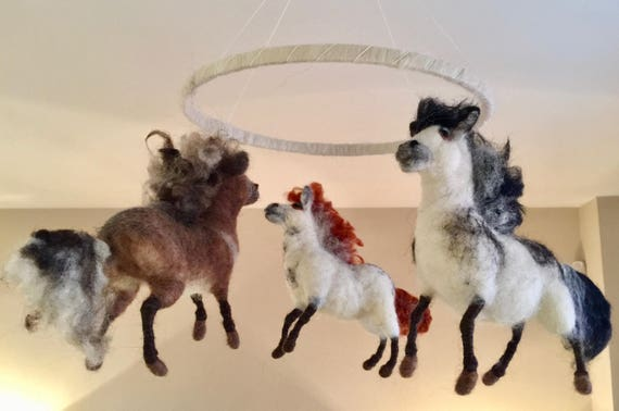 Needle felted mobile, mobile ornament, mobile decor, baby mobile, kids mobile, felted horses, felted ponies, wool horses, wool ponies