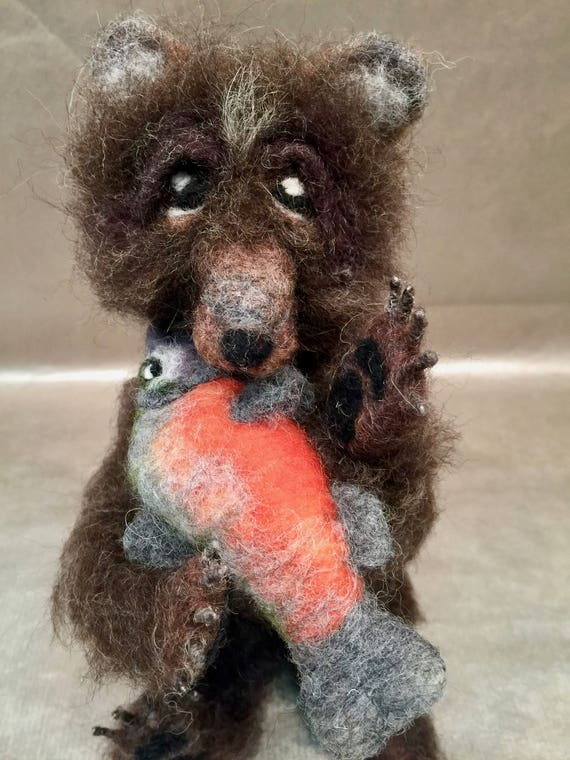 Needle felted bear, bear figurine, bear sculpture, bear lovers, wool bear, faux taxidermy, nature table, Waldorf animal, woodland animal