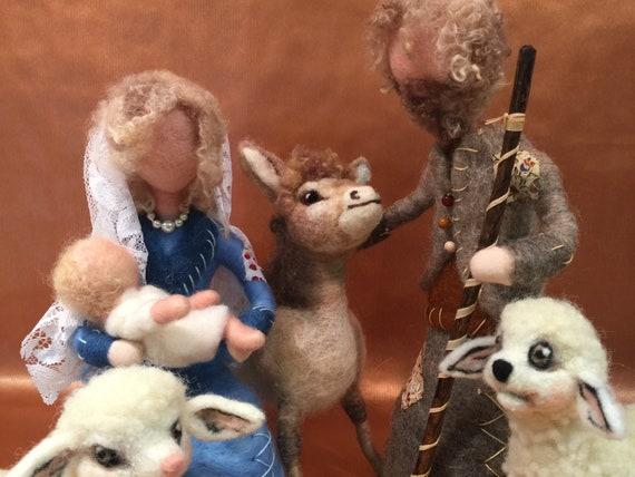 Needle felted nativity, nativity set, vintage nativity, wool nativity, nativity sculpture, nativity dolls, nativity art, nativity figurines