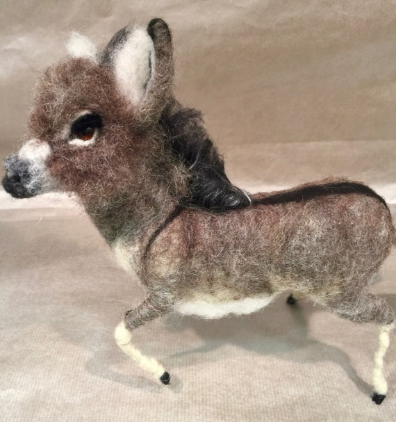 Needle felted donkey, wool donkey, donkey sculpture, felted farm animals, donkey art, donkey decor, donkey ornament, donkey figurine