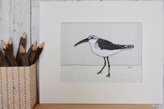 Bird wall art curlew sandpiper textile art embroidery | Etsy