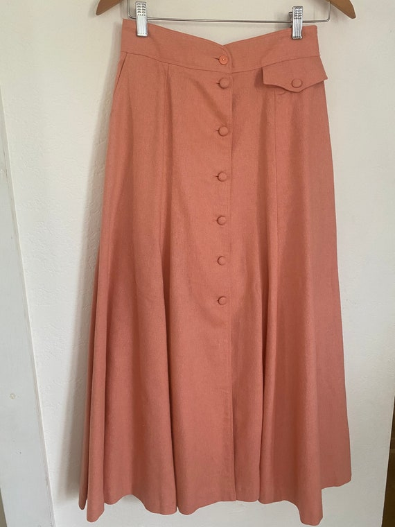 Vintage 1980s • Front Button • A-line Skirt • Full