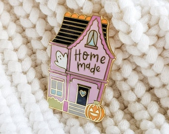 Hard Enamel Pin   Homemade Haunted House   Cloisonné Project Bag Pin