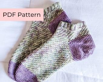 Crochet PATTERN   The Juniper Socks   Easy Crochet Shortie / Ankle Socks with Ribbing   Instant Download PDF