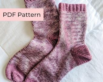 Crochet PATTERN   The Stitchery & Co. Classic Socks   Beginner Crochet Socks with Ribbing   Instant Download PDF