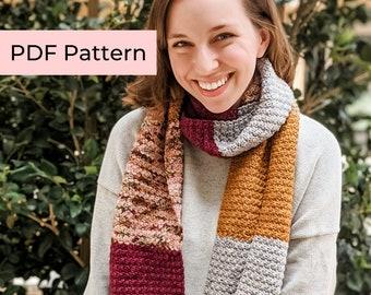 Crochet PATTERN   The Suzie Scarf   Easy Colorblock Crochet Scarf Pattern   Instant Download PDF