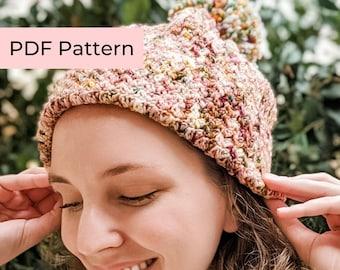 Crochet PATTERN   The Suzie Hat   Beginner Crochet Beanie Pattern   Instant Download PDF
