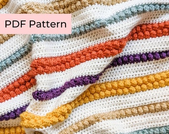 Crochet PATTERN | The Bobbles and Stripes Blanket | Easy Crochet Blanket Pattern | Instant Download PDF