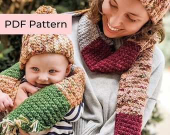 Crochet PATTERN BUNDLE   The Suzie Scarf and Hat Set   Easy Crochet Scarf and Hat Patterns   Instant Download PDF