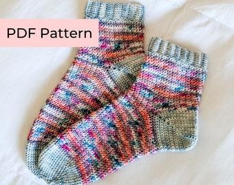 Crochet PATTERN   The Millie Socks   Easy Striped Crochet Socks with Ribbing   Instant Download PDF