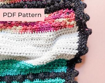 Crochet PATTERN   The Stars & Soot Blanket   Easy Crochet Bobbles and Stripes Blanket Pattern   Instant Download PDF