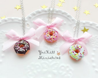 Sweet Donut Necklace/ Chocolate-Pink-Mint Donut Pendant/ Fake Food Jewelry/ Donut Jewelry/ Donut Necklace