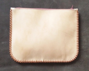 Minimalist leather clutch bag with decorative laced edge. Leather clutch with pink zip. Natural leather zip clutch. Leather zip up pouch