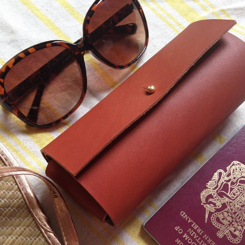 Leather glasses case. Chestnut brown sunglasses case. image 0
