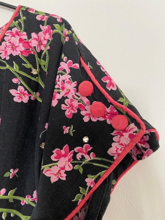 Vintage 1950s Novelty Black Floral Cotton Sundres… - image 4