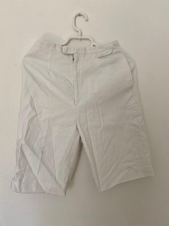 Vintage 1950s White Cotton Summer Shorts pedal pus