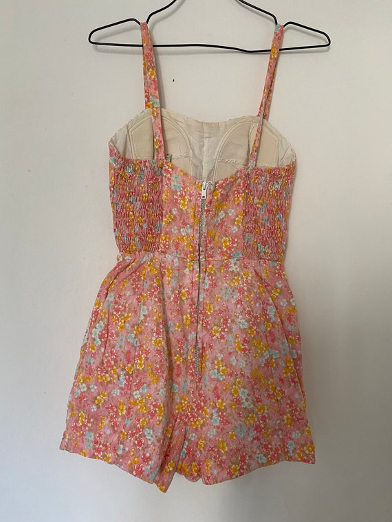 Vintage 1950s Floral Romper Playsuit Cotton Swims… - image 5