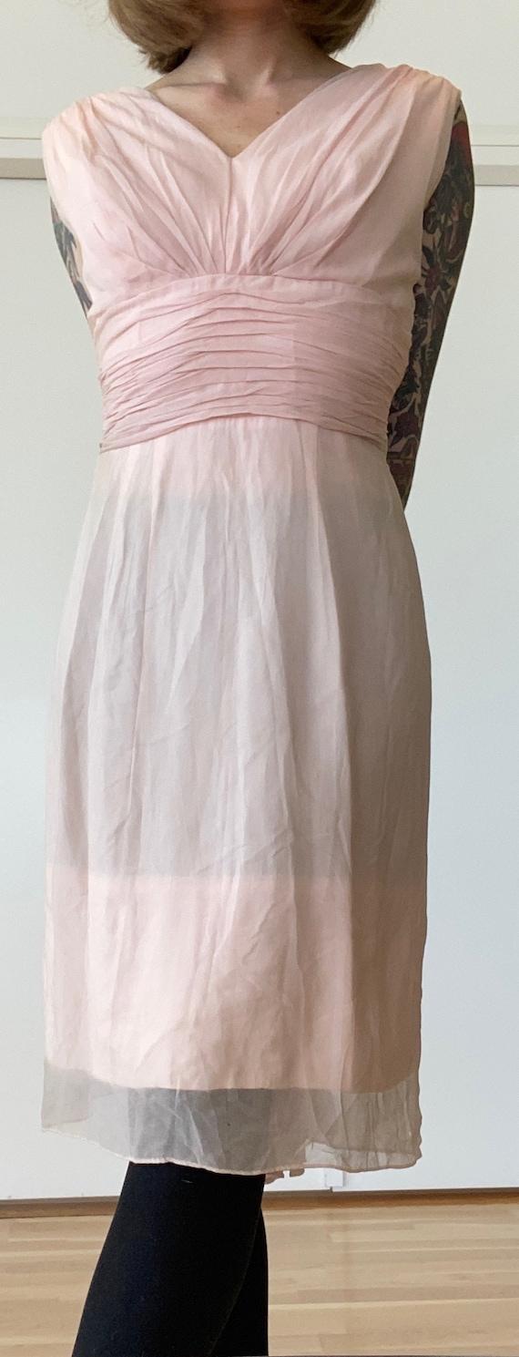 Vintage 1950s Pink Chiffon Wiggle Dress VLV