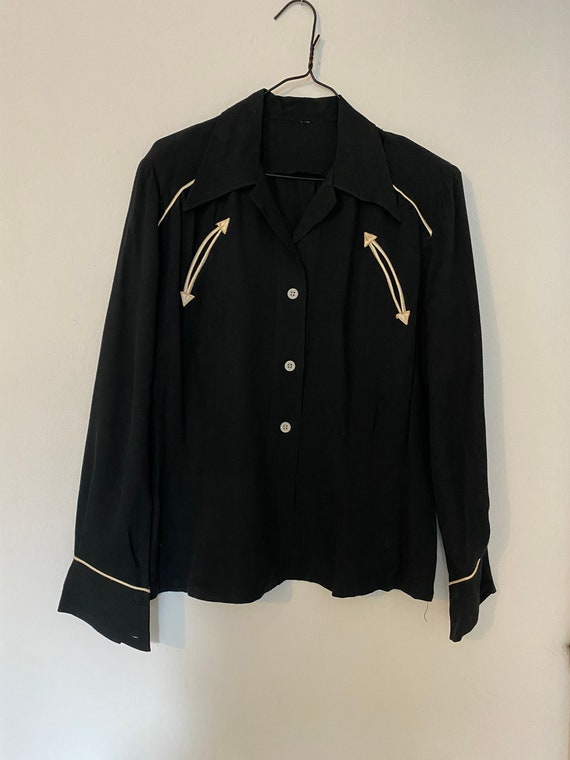 Vintage 1940s Black Gabardine Western Shirt Blouse