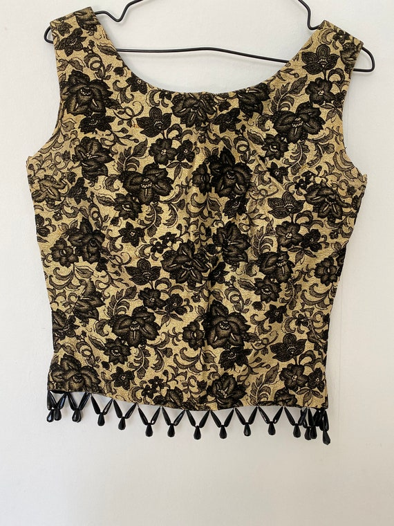 Vintage 1950s Gold Lame Top Black Velvet Roses