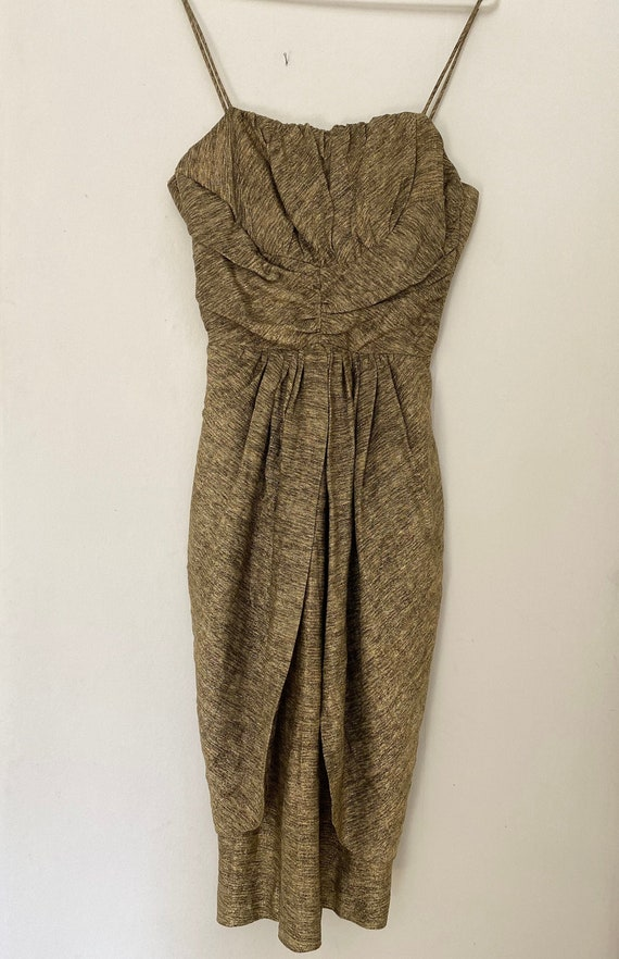Vintage 1950s Flecked Gold Lurex Dress VLV