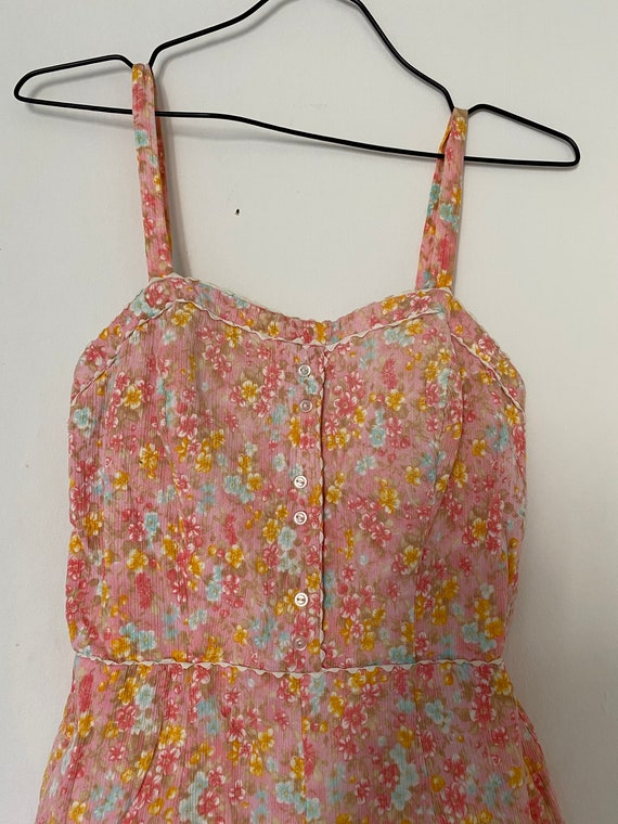 Vintage 1950s Floral Romper Playsuit Cotton Swims… - image 4