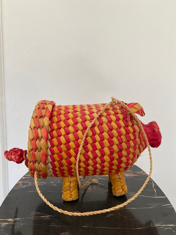 Vintage style 1950s repro novelty wicker pig purse