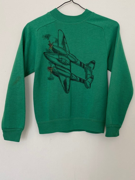 Vintage 1960s Airplane Drawing Sweater Sweatshirt