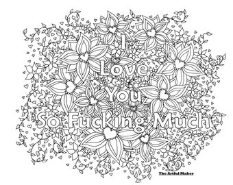 I Love You Coloring Etsy