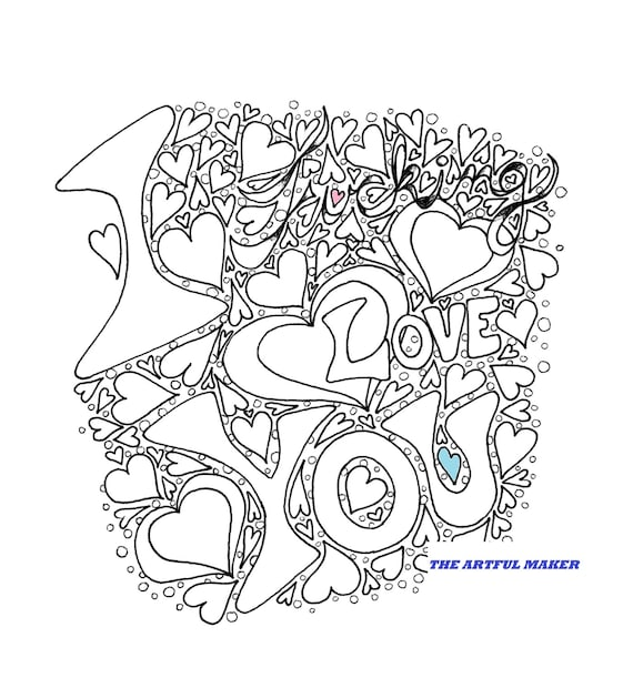 I Fucking Love You Adult Coloring Page By The Artful Maker Etsy