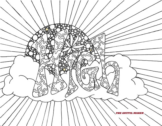 High Sunshine Adult Coloring Page By The Artful Maker Etsy