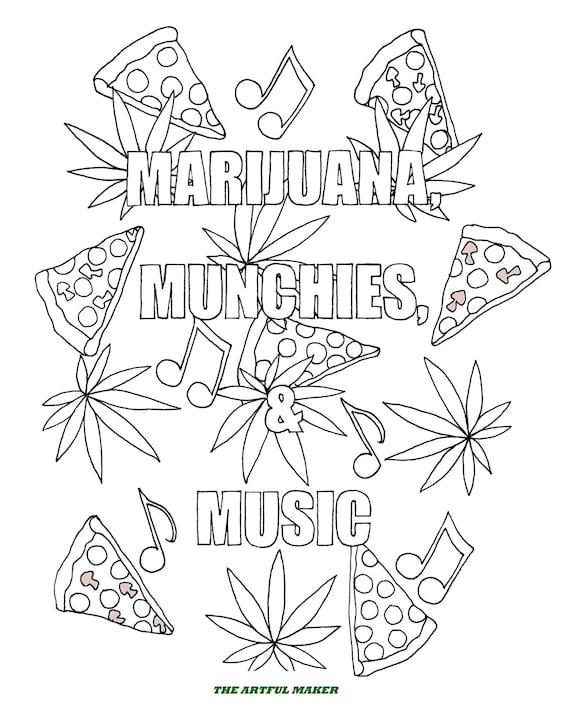 La marijuana fringale musique coloriage adulte par le etsy - Coloriage feuille de cannabis ...