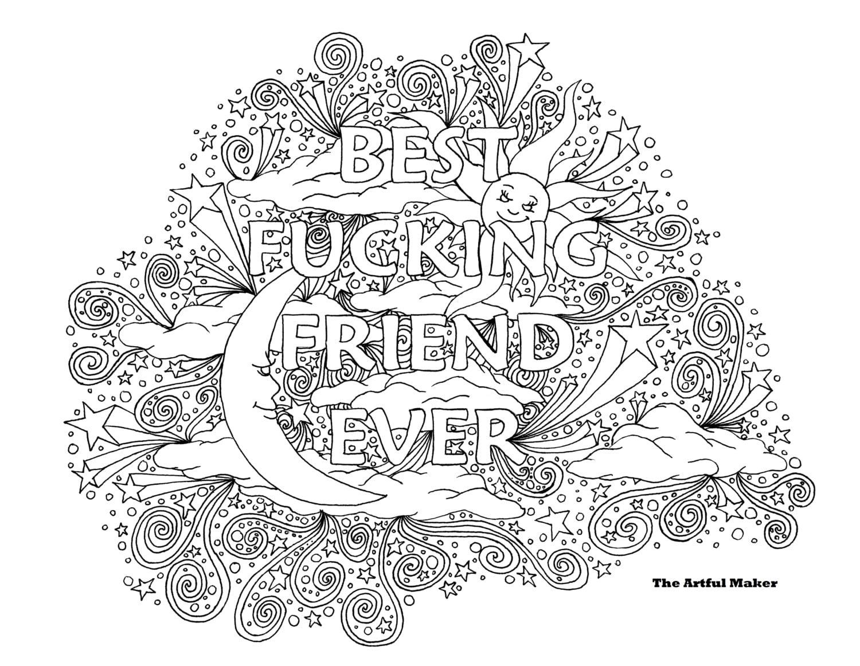 BFF siempre amigo mejor puta para colorear adultos página