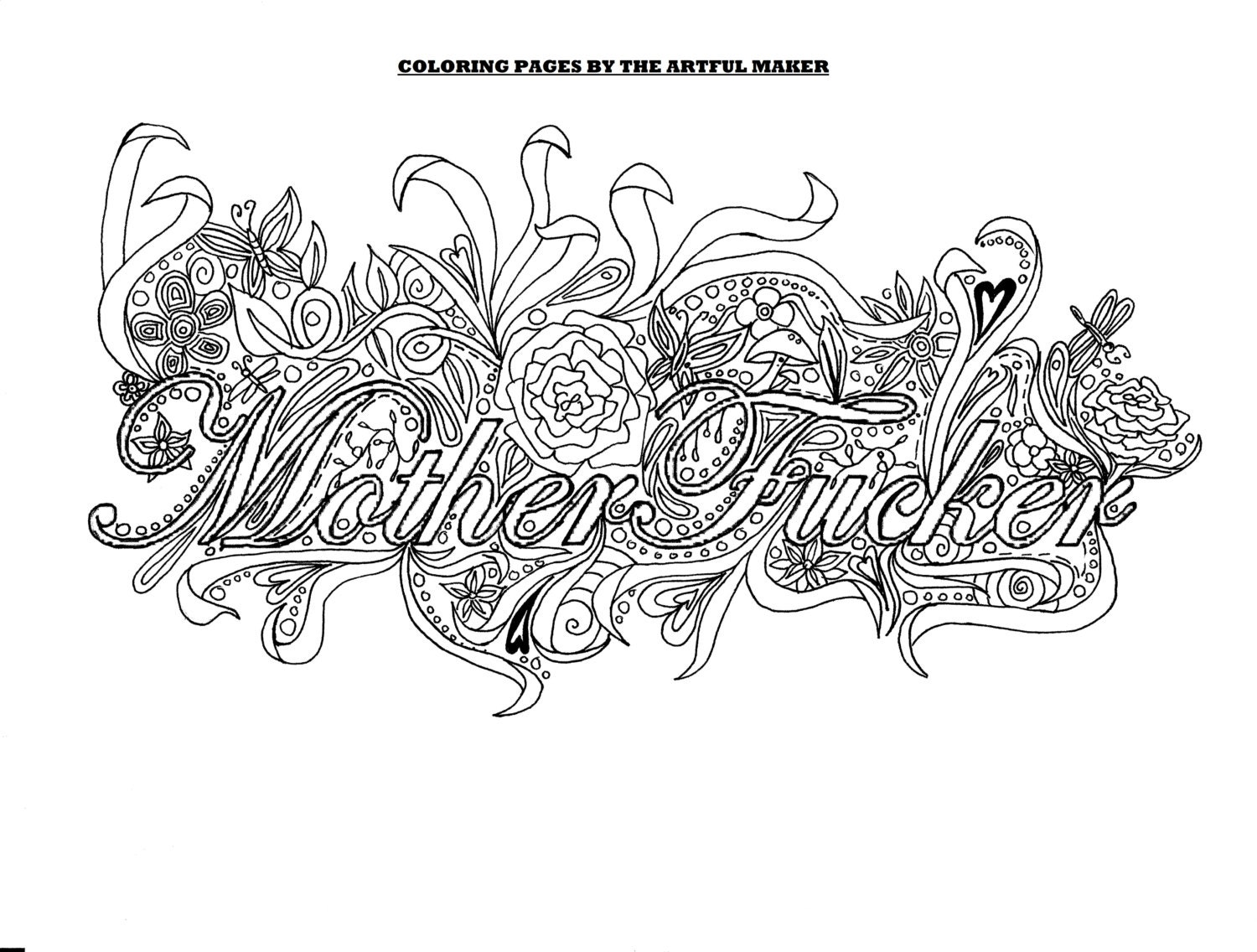Motherfucker Adult Coloring Page By The Artful Maker Etsy