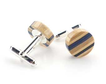 Wooden Cufflinks, Wedding Cufflinks, Recycled Skateboard Cufflinks, Groomsmen Cufflinks, Wedding Gift, Groomsmen Gift, Cufflinks Set, Blue