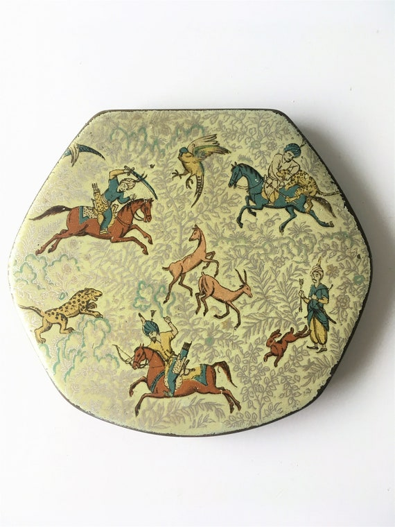 Vintage Powder Compact with Persian hunting scene,