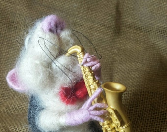 Needle felted mouse with saxophone, Needle felted soft sculpture