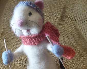 Skiing needle felted rat, Needle felted soft sculpture