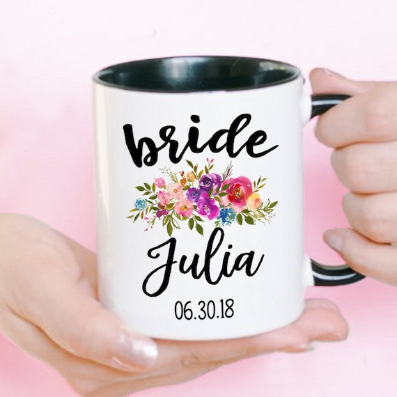 Details about  /Bulk Personalised Coffee Mugs Floral Wedding Favours Names Date Roses